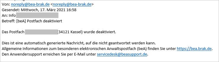 beA Postfächer der RAK Kassel deaktiviert