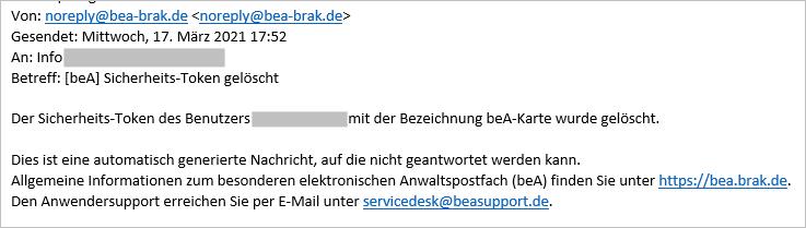 beA Postfächer der RAK Kassel - Sicherheitstoken gelöscht
